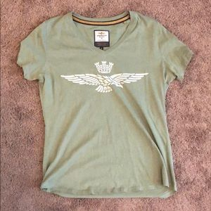 Green V neck T-shirt. Size small